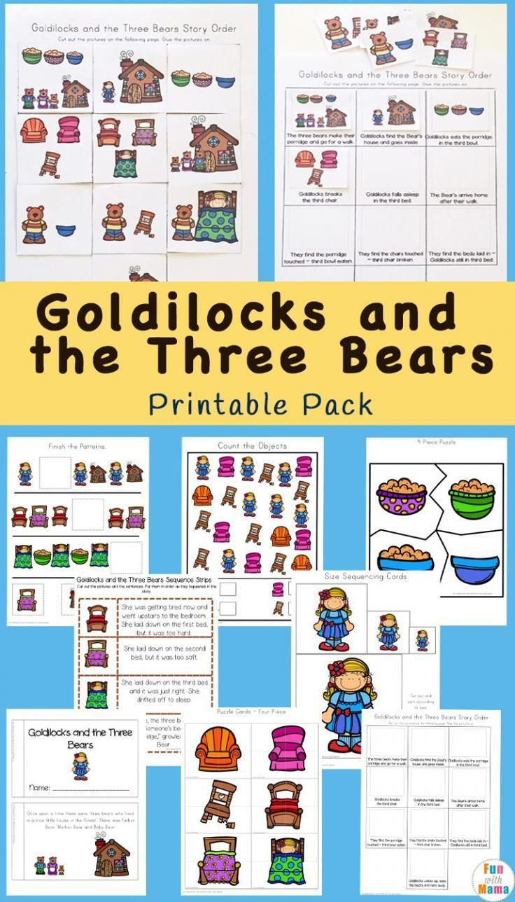 Goldilocks And The Three Bears Printable Pack Bear Activities Preschool Bears Preschool Goldilocks And The Three Bears [ 1288 x 736 Pixel ]