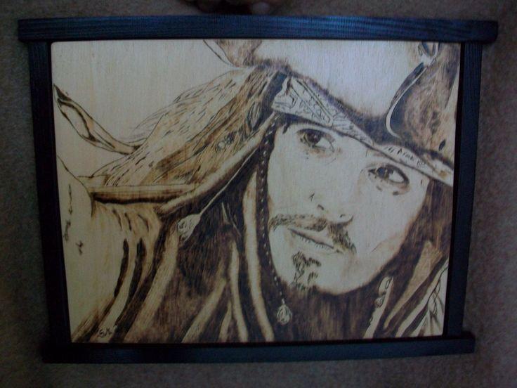 quadro pirografato 30x40 cm di jack sparrow