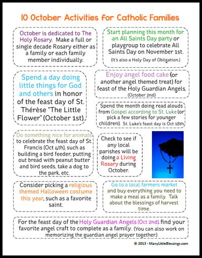 Printable Page of October Activities for Catholic Families | manylittleblessings.com