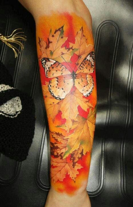 Beautiful fall foliage and butterfly, sleeve tattoo, body art,tattoos, butterfly tattoo, fall foliage sleeve tattoo, orange, yellow, red, leaves changing colors, changing colors, colorful