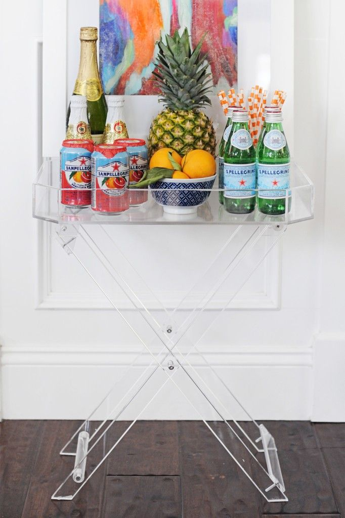 Summer Bar Cart Styling.  Cute ideas for styling a small side table or bar cart for your next summer dinner party.