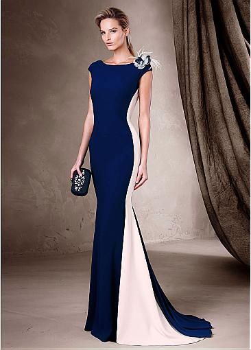Gorgeous Stretch Satin Bateau Neckline Mermaid Evening Dresses With Handmade Flower