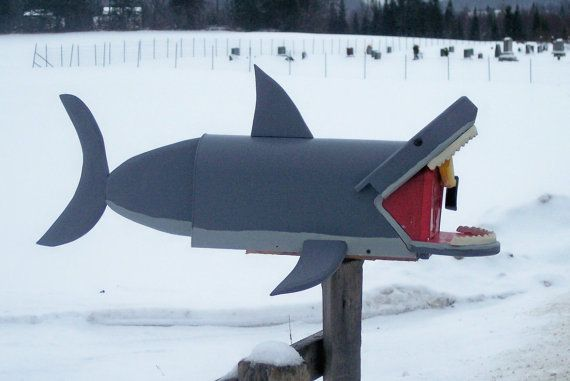 Mailbox shark great white shark mail box by CrossKnots on Etsy, $95.00