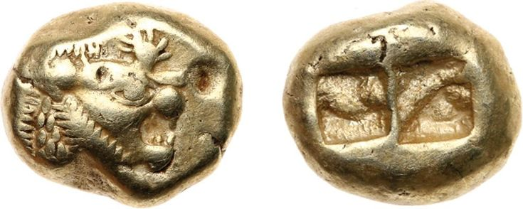 Kingdom of Lydia, Time of Alyattes to Kroisos (c.610-546 BC). Electrum Trite, 4.74g. Mint of Sardes. Head of roaring li Kingdom of Lydia, Time of Alyattes to Kroisos (c.610-546 BC). Electrum Trite, 4.74g. Mint of Sardes. Head of roaring lion facing right, sun with multiple rays on forehead. Rev. Two incuse square punches (Weidauer Group XVI, 89; SNG Kayhan 1013; Rosen 655; SNG von Aulock 2868-9). Slightly irregular flan, very fine. $ 1,750. Estimated Value $1,750-UP. #Coins #Gold #Ancient…