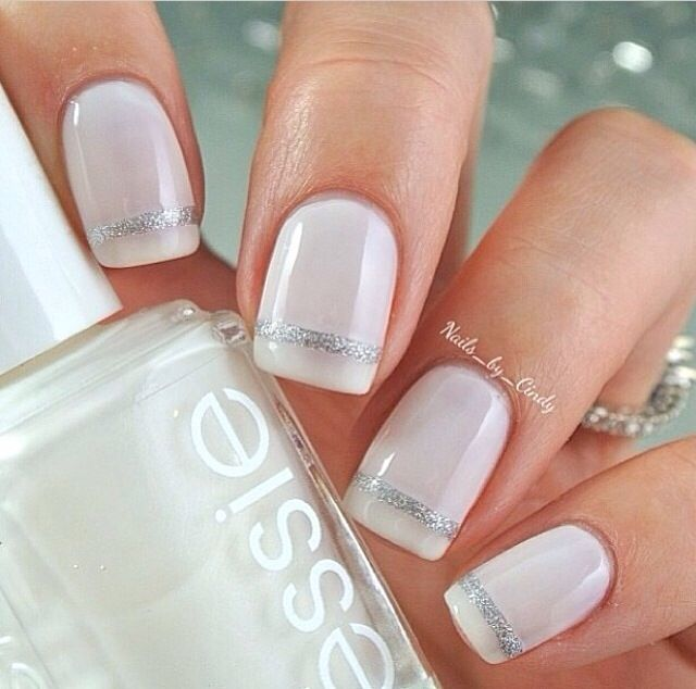 Wedding nails: Bridal Manicures, Nails Art, Wedding Nails, Holidays Inspiration, Manicures Nails, White Nails, Nails Manicures, Winter Nails, Stripes Nails