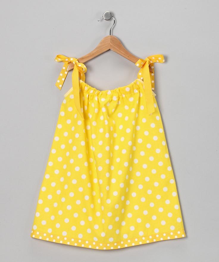 Yellow & White Polka Dot Swing Dress - Infant, Toddler & Girls