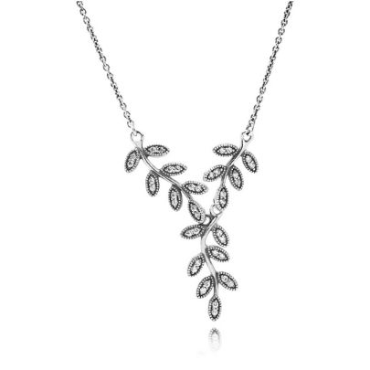 Pandora Silver Cubic Zirconia Leaves Pendant Necklace 590414CZ-45. From Pandora's Autumn 2014 collection this stunning necklace features sparkling sterling silver leaves adorned with a number of dazzling cubic zirconia. A beautiful accessory to compliment any outfit.
