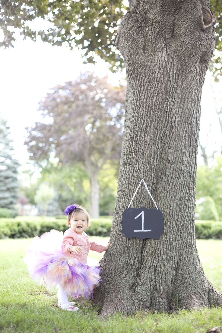 First birthday photo shoot. Tutu by tree with chalkboard. Photo by Hartley Photography