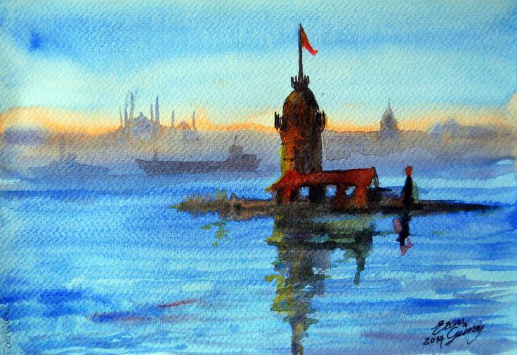Leander's Tower(Kız Kulesi)  16cmx25cm Watercolor on Fabiano