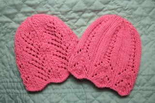 These lacy baby hats are simple but look complicated. The one on the left is fan lace and the one on the right is tiffany lace.