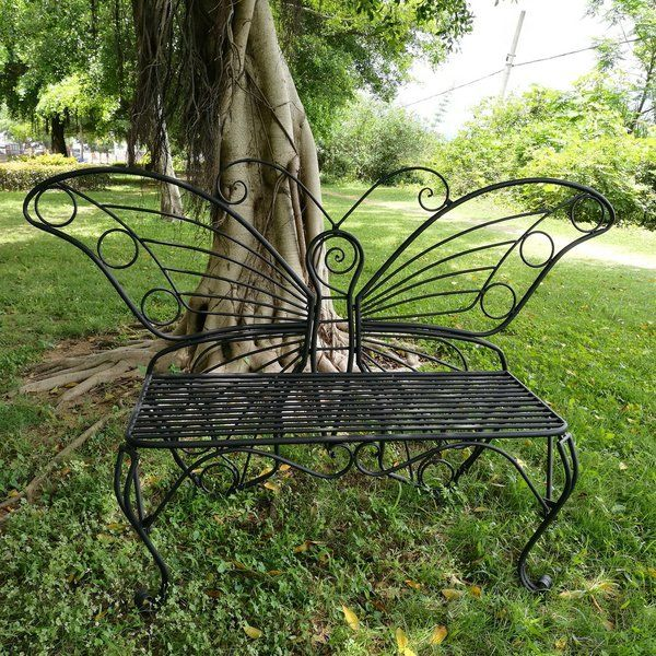 Butterfly Metal Garden Bench With Images Metal Garden Benches