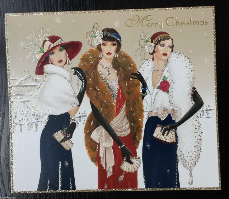5 X Clintons Art Deco Lady Glitter Large Beautiful Christmas Cards • £11.00 - PicClick UK