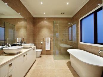 Modern bathroom design with corner bath using ceramic - Bathroom Photo 185323