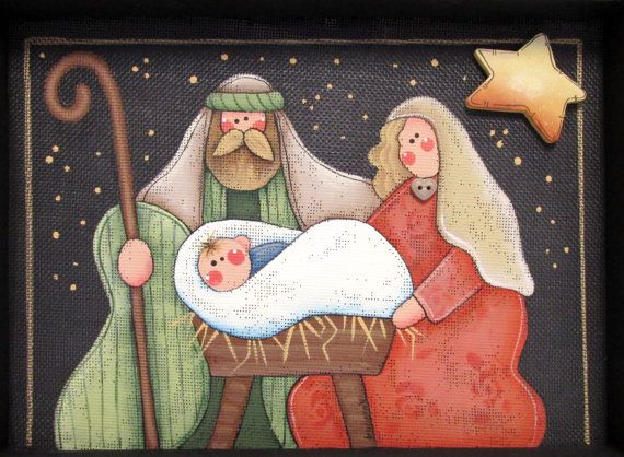 Christmas Nativity Mary Joseph and baby Folk by barbsheartstrokes