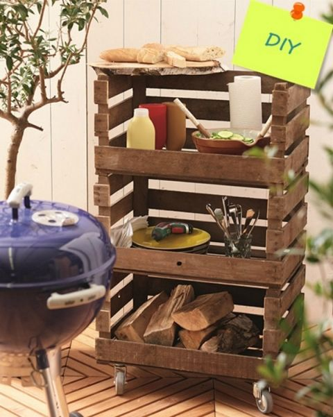 Awesome DIY outdoor projects! // cleanandscentsible.com Stack then turn towards the house for storage to keep Moose out!