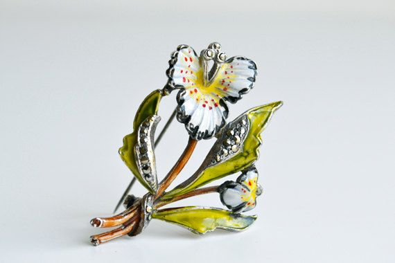 White orchid enamel brooch green marcasites by itsvintageindeed