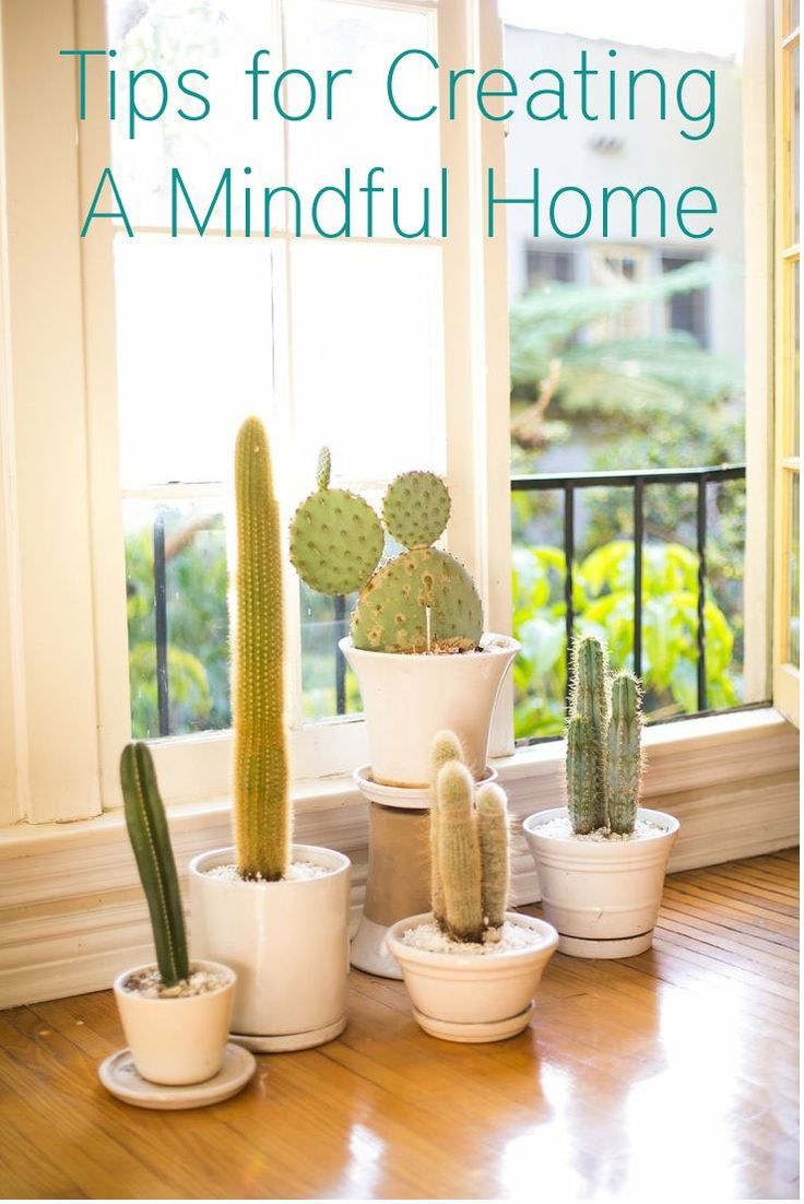 Tips for Creating a Mindful Home (Pinning this for the cacti picture, I love those white pots!)