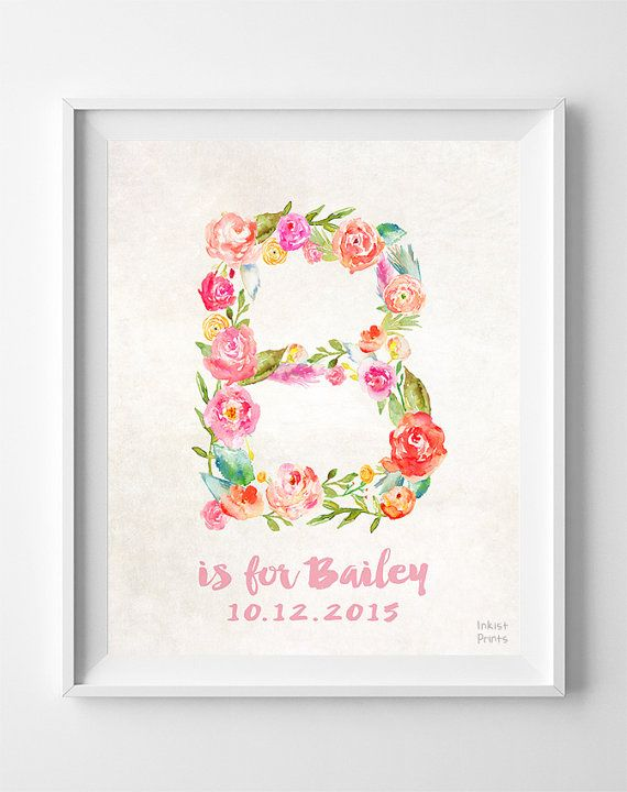 Nursery Name, Baby Art Print, Baby Artwork, Children Room, Monogram Alphabet, Brittany ,Barbara, Beth, Bailey, Brooke, Easter Decorations