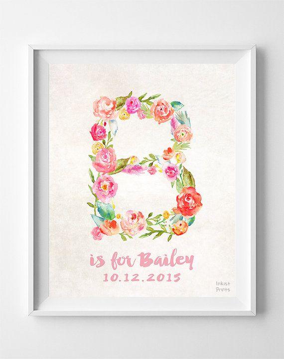 Custom Name Personalized Print Bailey Nursery Art by InkistPrints