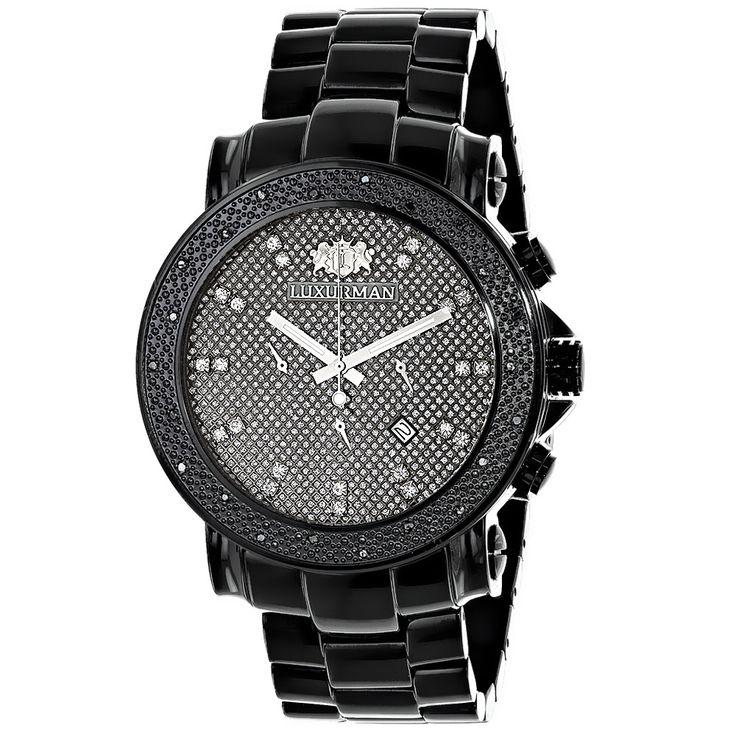 Black Diamond Watches: Oversized Mens Diamond Watch by Luxurman 0.25ct