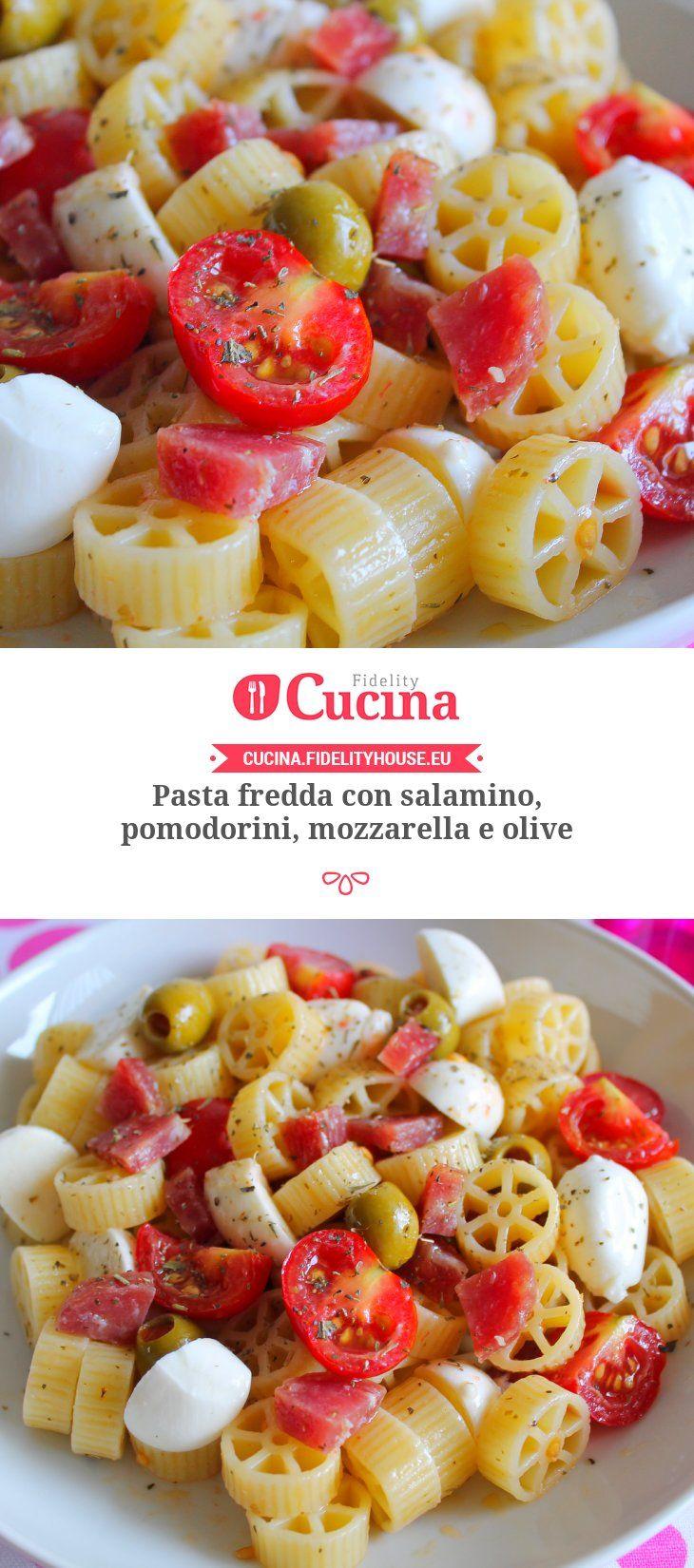 Pasta fredda con salamino, pomodorini, mozzarella e olive