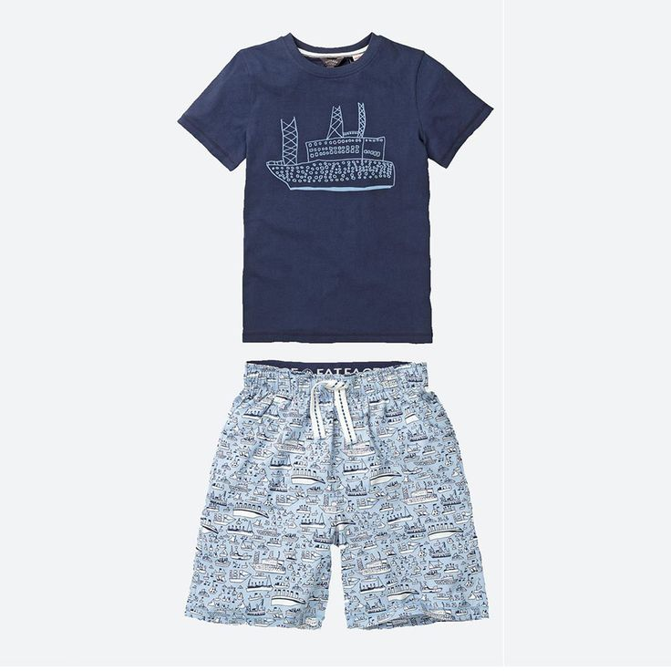ARTHOUSE Meath X Fat Face  Boats Shortie Pyjama  Set: A soft cotton hand designed 2 piece boys pyjama set with boats at sea print. This pyjama set has been designed in collaboration with high street retailer Fat Face. Each boat was individually hand designed by artists at ARTHOUSE Meath.Soft cottontop and bottom set featuring a graphic print tee, and printed shorts with a branded elasticated waistband.