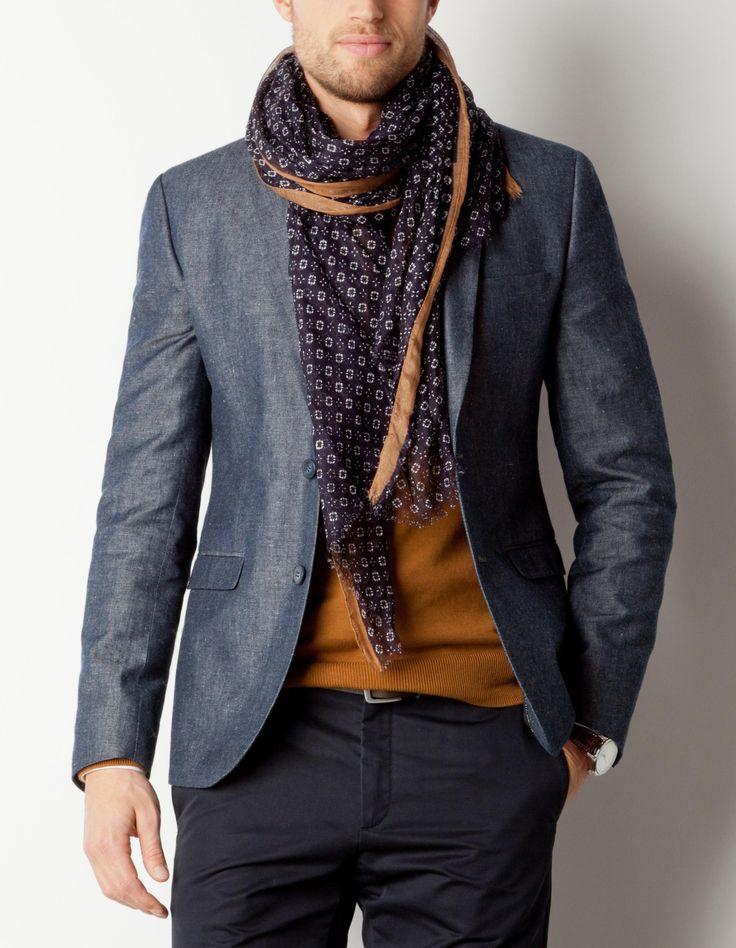Chèche à motifs avec vest de costume mode homme