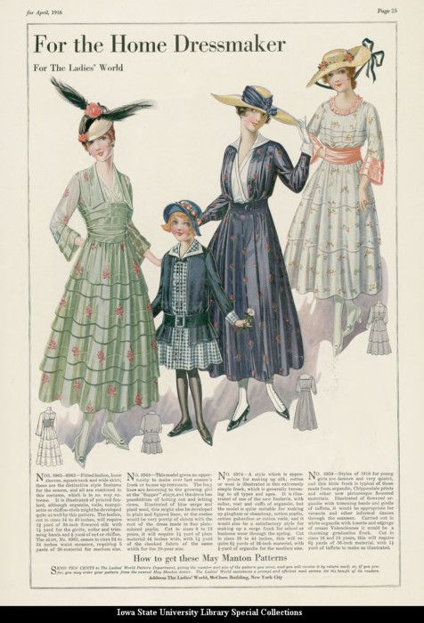 Catalogue page showing day dresses for women, teens and girls, 1916 United States, the Ladies' World