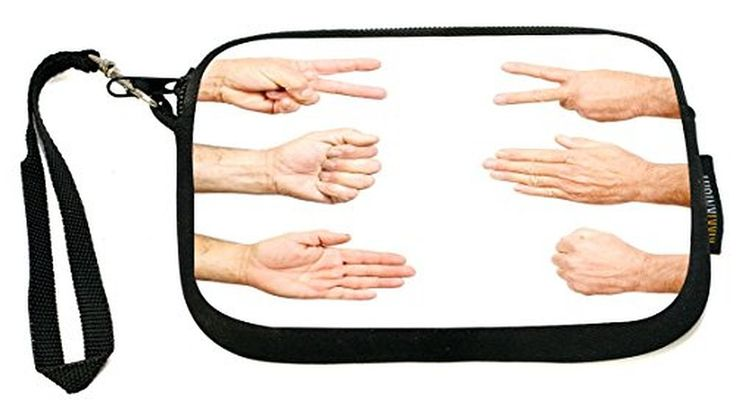 UKBK Rock Paper Scissors Hand Signs - Neoprene Clutch Wristlet with Safety Closure - Ideal case for Camera, Cell Phone, Gameboy, Passport, Cosmetics c
