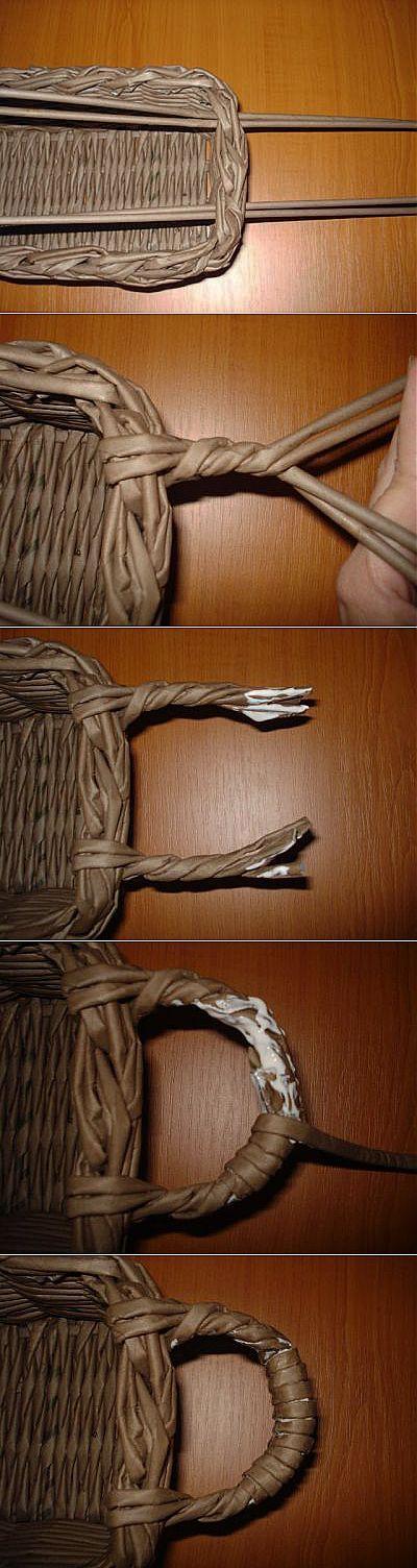 Плетение ручки для корзины | Плетение из газет | Постила