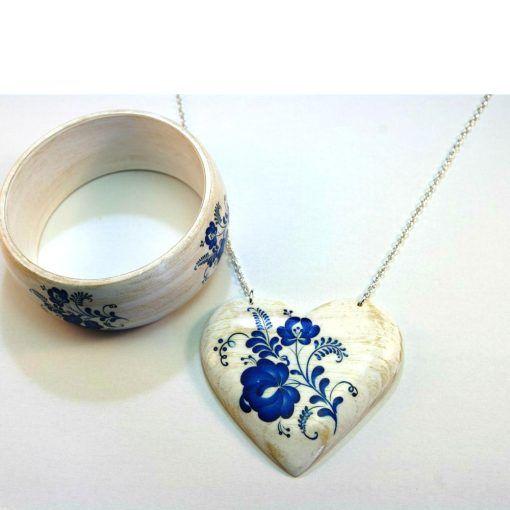Drevené šperky – náramok, náhrdelník – Modranský motív
