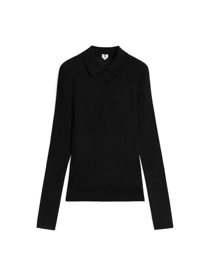 Rib-Knit Polo Longsleeve - Black - Knitwear - ARKET SE