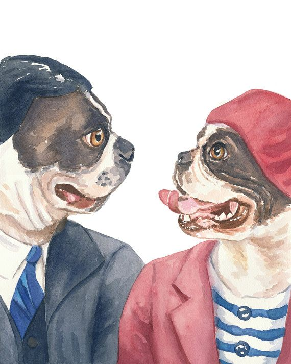Dog Watercolor PRINT, Boston Terrier - Watercolour Print, Love, 11x14 Painting Print