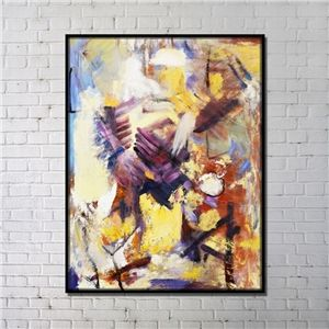 Contemporary Wall Art Abstract Print Colorful with Black Frame 36