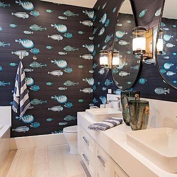 bathroom fish pattern wallpaper design ideas | bathroom