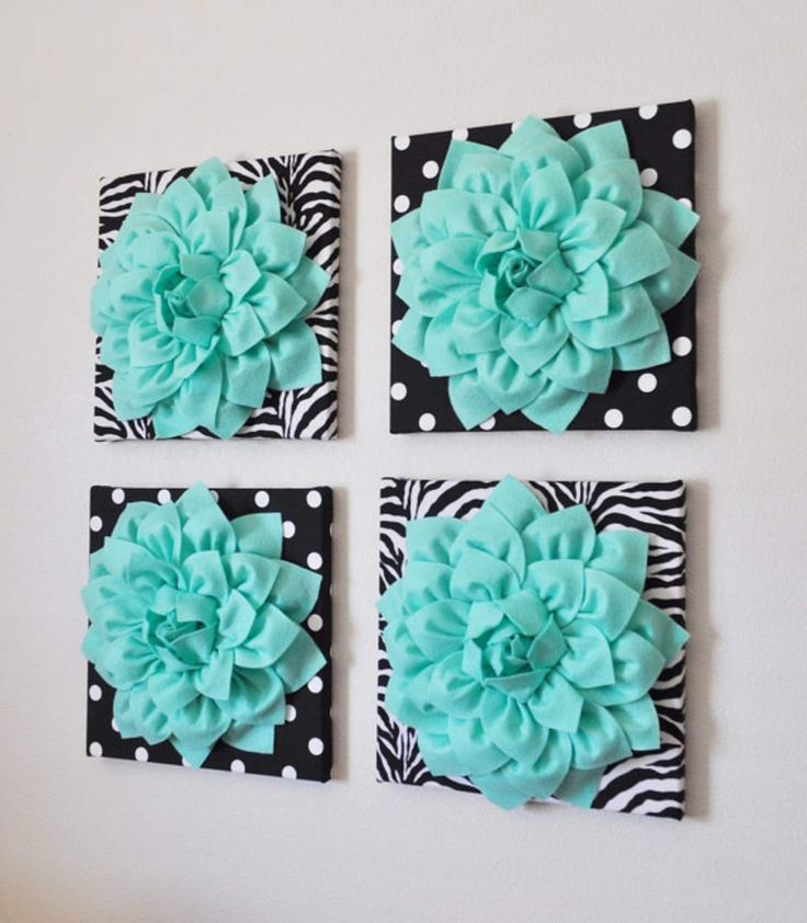 "Wall Decor -SET OF FOUR Mint Dahlias on Black and White Prints 12 x12"" Canvases Wall Art-"