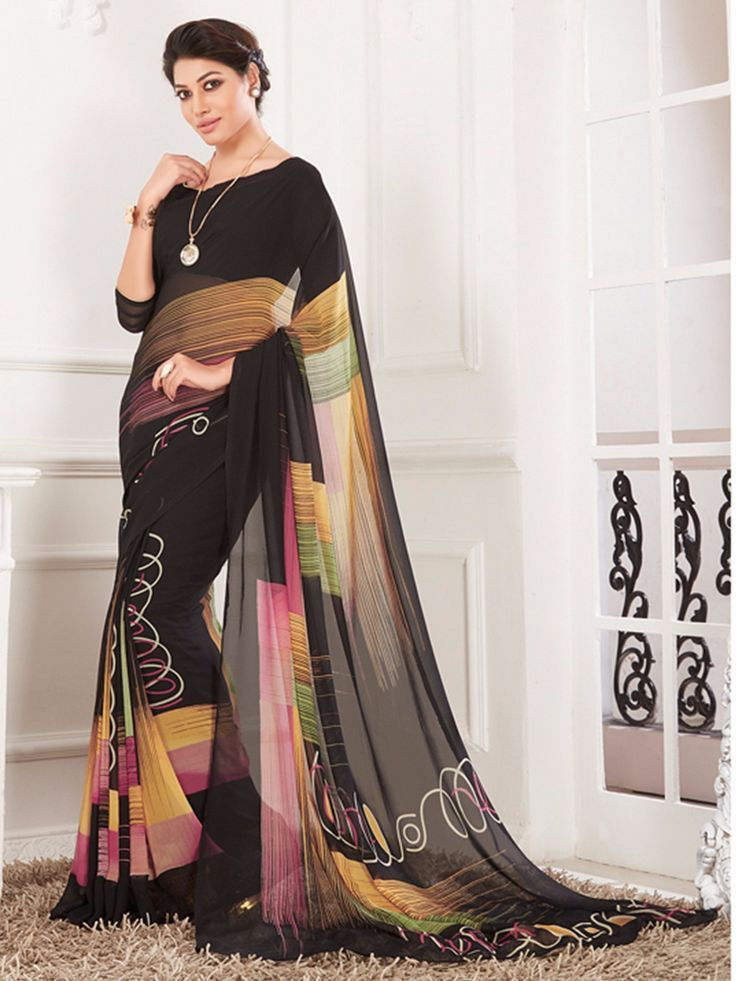 Black Printed Claasy Georgette Saree