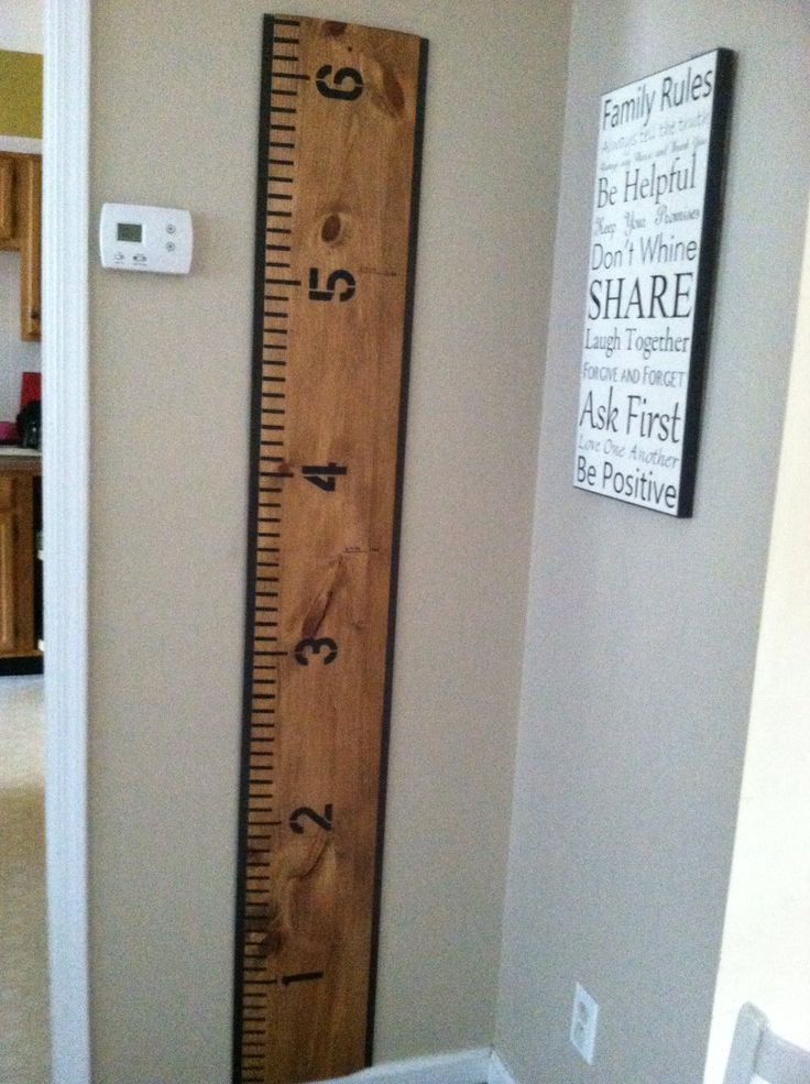 Ruler measuring chart for kids. Husband did a great job