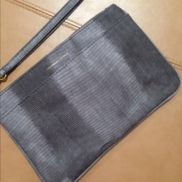 Kurt Geiger gray snake print wristlet NWOT New, never used. Zipper closure, outside pouch and inner zippered pocket. About 9 1/2 by 6 1/2 Kurt Geiger  Bags Clutches & Wristlets