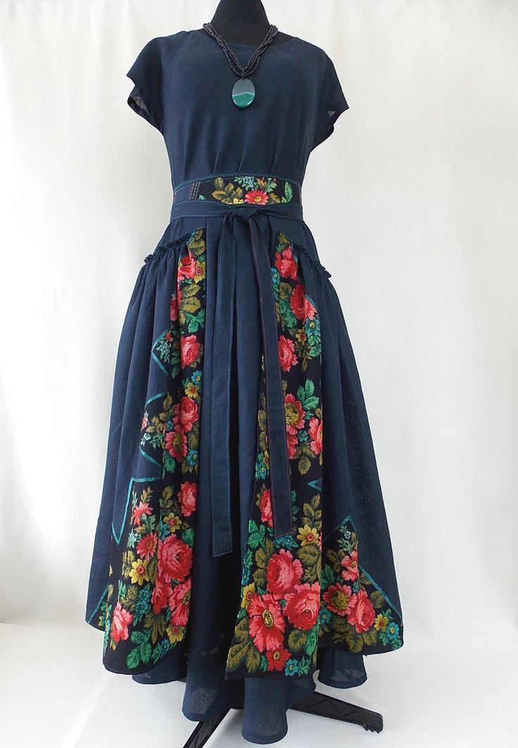 Linen dress in ethnic style. Women Maxi Dress Pluse Size. Linen 100%. Boho dress Asymmetrical Kaftan by BohoEklektika on Etsy