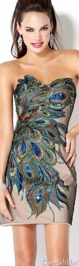 JOVANI - Authentic Designer Dress - Pretty Strapless Peacock Design