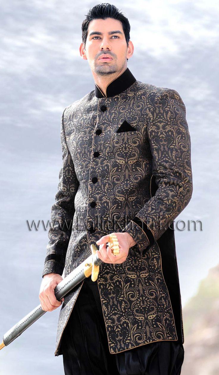 Unique black indo western sherwani item code sij6129 for Indo western wedding dress for men
