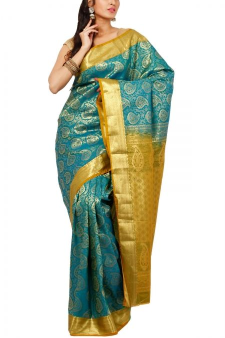 Turquoise Brocade Art Silk Saree