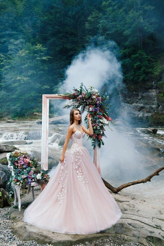 46856c8f499 Pink wedding dress with A-line tulle skirt with 3D flowers and a lace corset  with lacing on the back