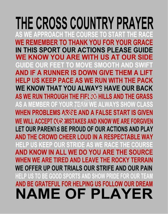 The Cross Country Prayer personalized, Cross Country Print ...
