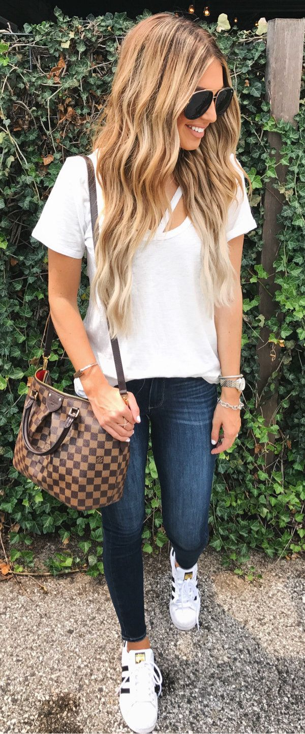 #fall #outfits White Tee + Skinny Jeans + Adidas Pumps