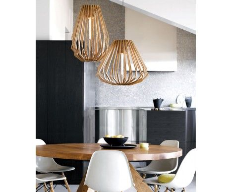 Stockholm 1 Light Squat Flair Pendant in Natural Wood | Modern Pendants | Pendant Lights | Lighting $695