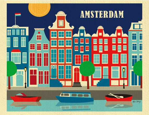 ARTIST INSPIRATION:  Amsterdam is a wonderful city to draw. The decorative roof tops are so unique, I had to design a scene of the historical flats along the canal. I selected a traditional nautical palette of colors including blue, red, and white, the colors of the Dutch flag. The sky is a dark blue that makes the roof tops pop out. Its quite playful and vibrant in person.  MATERIAL DESCRIPTION: Our unique 80 lb. organic heavy cream stock is 100% recycled made with post-consumer waste…