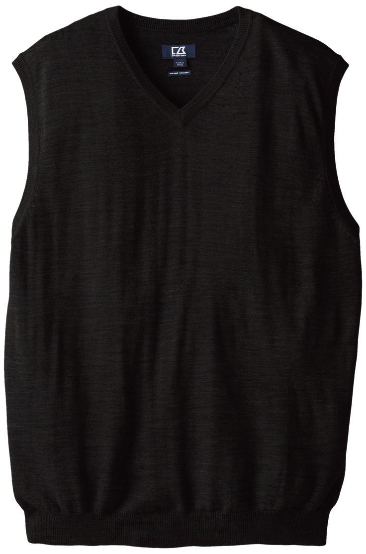 Cutter & Buck Men's Big-Tall Douglas V-Neck Sweater Vest, Black, 5X/Big
