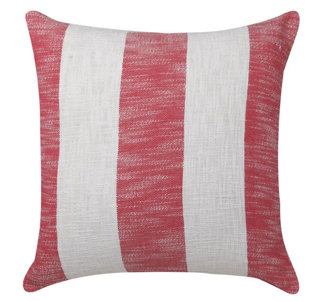 Malone Red ROYAL DOULTON  Malone, in a wide contemporary stripe, adds modern charm and casual elegance. The slub adds textures reminiscent of beachside retreats while the bold stripe adds a touch of formality to the range. Crisp white against red is a classic colour combination which never dates.  Features: 100% cotton slub Printed stripes front and reverse Zip closure  Dimensions: x1 European Pillowcase - 65cm x 65cm - #pillowcases